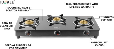 Ideale Trego Glass, Stainless Steel Manual Gas Stove  (3 Burners)