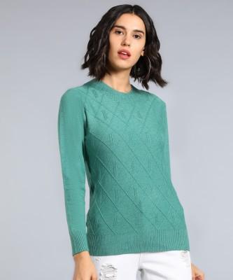 Remanika Self Design Round Neck Casual Women Green Sweater