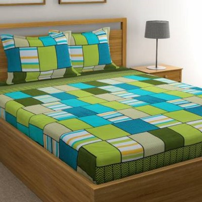 CHHAVI INDIA 120 TC Microfiber Double Printed Bedsheet(Pack of 1, Green)
