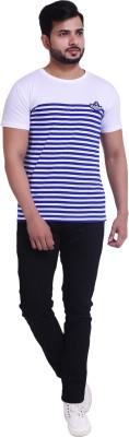 COUPLESTUFF.IN Striped Men Round Neck Blue T-Shirt
