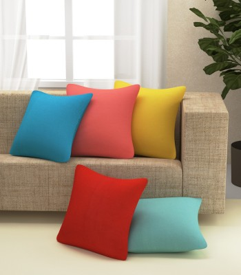 Yellow Weaves Plain Cushions & Pillows Cover(Pack of 5, 40.64 cm*40.64 cm, Multicolor)