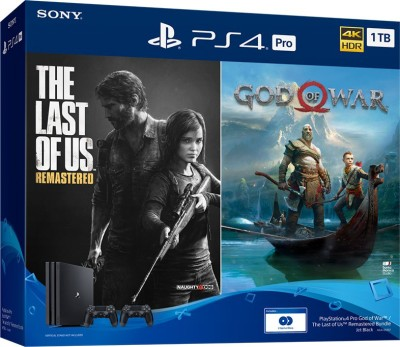 Sony PS4 Pro 1TB Console with Extra controller(Black) 1000 GB with The Last Of Us: Remastered, God of War(Black)