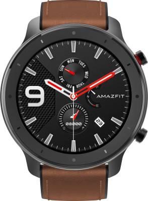 Huami Amazfit GTR 47 mm Aluminium Alloy Smartwatch(Brown Strap Regular)