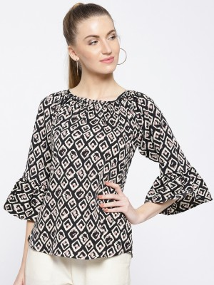 Cottinfab Casual Bell Sleeve Printed Women White, Black Top