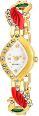 Dcom Double mor queen Shape White dial and strap gold woman watch -Diamond Analog Watch  - For Women
