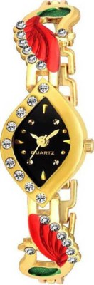 Dcom Double mor queen Shape Black dial and strap gold woman watch -Diamond Analog Watch  - For Women