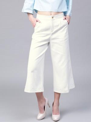 Sassafras Relaxed Women White Trousers