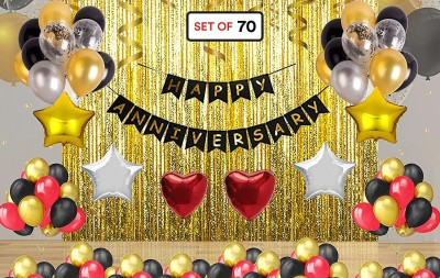 Anayatech Solid happy anniversarycombo( pack of 70) Letter Balloon(Multicolor, Pack of 70)