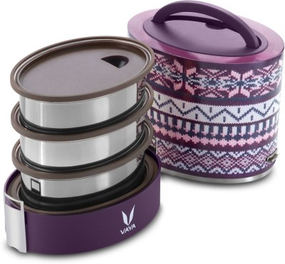 Vaya Tyffyn Lyte 1000 ml Wool Polished Stainless Steel Tiffin Box without BagMat (One 400 ml + Two 300 ml Containers) - 3 Containers Lunch Box(1000 ml)