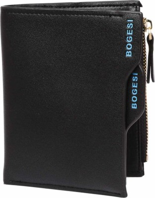 Bogesi Men Black Artificial Leather Wallet 12 Card Slots