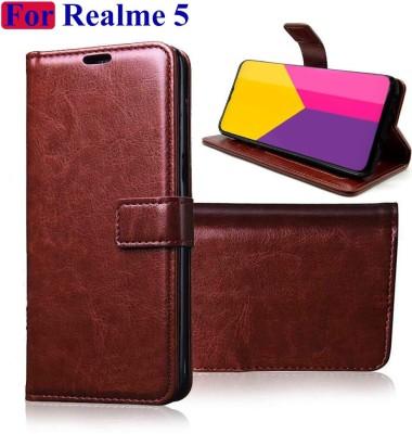 Manobal Flip Cover for Realme Narzo 10, Realme 5, Realme 5s, Realme 5i(Brown, Dual Protection)
