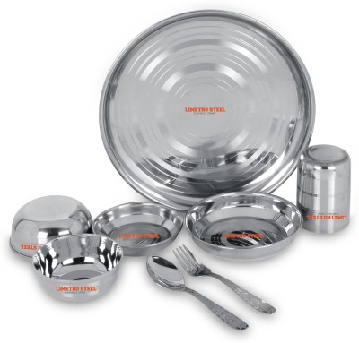 LIMETRO STEEL Stainless Steel Heavy Quality Made in India Mirror Finish set of 8 (1 Dinner Plates, 1 Big Halva Plates,1 Small Halva Plates, 1 Big Bowl/ Wati, 1 Small Bowl/ Wati, 1 Glasses, 1 Spoons, 1 Forks,) Dinner Set Pack of 8 Dinner Set(Stainless Steel)