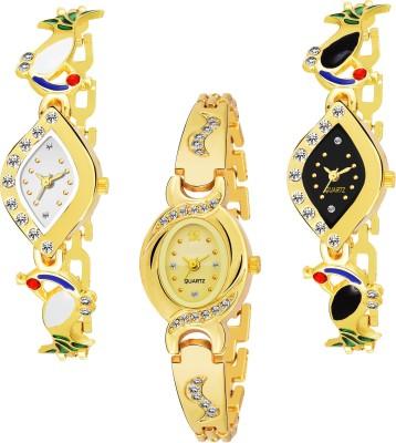 QUEBEC Combo Pack 3 Attractive Designer Multicolor Dial Golden Chain Belt Bracelate Watch For Women & GirlsPq-20 Analog Watch  - For Girls