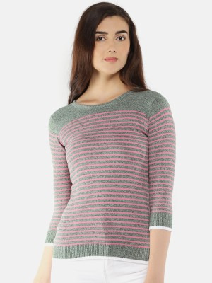 Manola Striped Round Neck Casual Women Pink Sweater