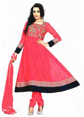 Reya Poly Georgette Embroidered Salwar Suit Material(Semi Stitched)