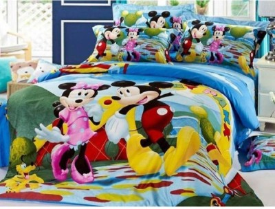 Italian Fab 120 TC Microfiber Double Printed Bedsheet(Pack of 1, Mickey Printed)