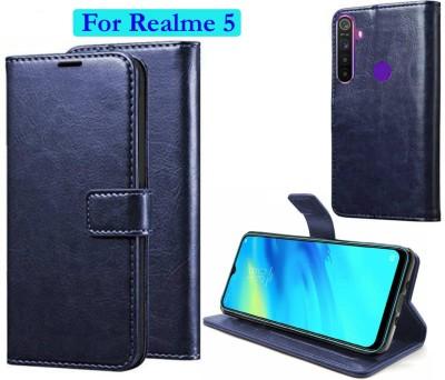 Manobal Flip Cover for Realme Narzo 10, Realme 5, Realme 5s, Realme 5i(Blue, Shock Proof)