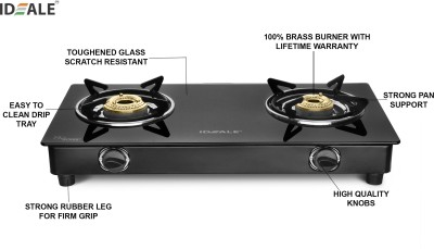 Pigeon Ultra Glass, Stainless Steel Manual Gas Stove(4 Burners)
