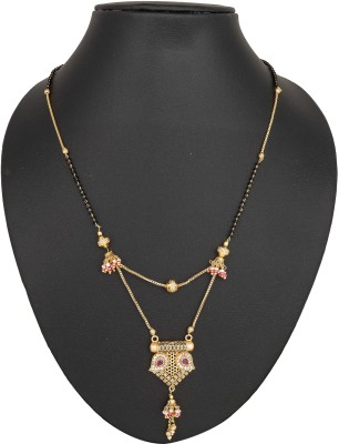 Pankh Pankh Beautiful 2layer Pink Drop Mangalsutra MS-138 Brass Mangalsutra