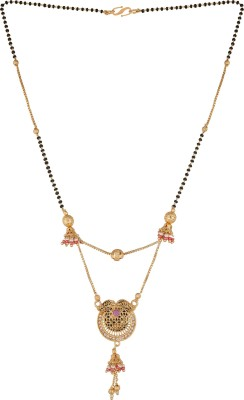 Pankh Pankh Beautiful 2layer Pink Drop Mangalsutra MS-134 Brass Mangalsutra