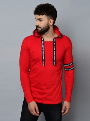 Kay Dee Typography Men Hooded Neck Red T-Shirt