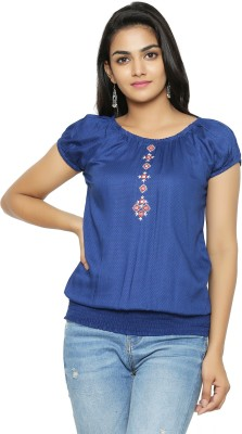Yash Gallery Casual Short Sleeve Solid Women Blue Top
