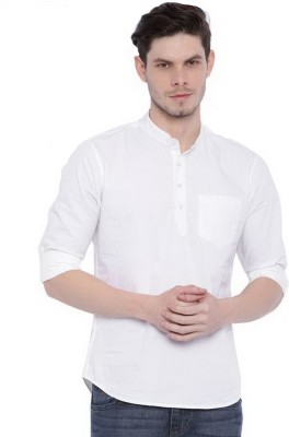 Tap in Men Solid Straight Kurta(White)