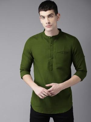 Tap in Men Solid Straight Kurta(Green)