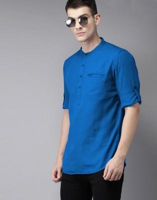 Tap in Men Solid Straight Kurta(Blue)