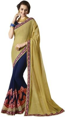 Gymfy Embroidered, Embellished, Floral Print, Solid Bollywood Silk Blend Saree(Mustard)
