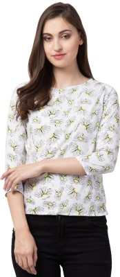 Olliva Casual 3/4 Sleeve Floral Print Women White Top