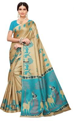 Saara Printed, Animal Print Mysore Khadi Silk, Art Silk Saree(Multicolor, Light Blue, Beige)