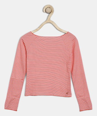Pepe Jeans Girls Pure Cotton Top(Orange, Pack of 1)