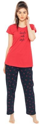 ZEYO Women Printed Red Top & Pyjama Set