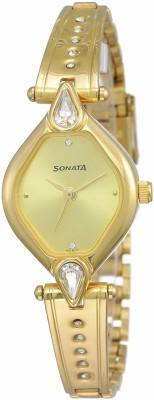 Sonata N8063YM02 Quartz Gold Round Women Watch (N8063YM02)