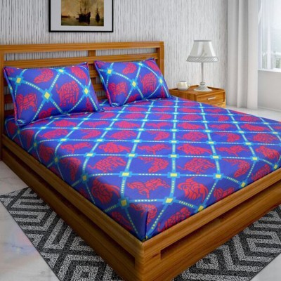 Bombay Linen 104 TC Cotton Double Animal Bedsheet (Pack of 1, Blue)