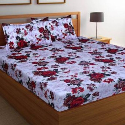 New Click Shop 144 TC Cotton Double Floral Bedsheet(Pack of 3, Multicolor)