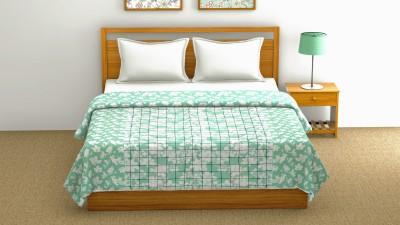 Sanvee Checkered Single Dohar(Cotton, Green)