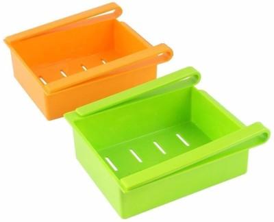 2Mech MultipurposeFridge Space Saver Organizer Slide Storage Rack Shelf Drawer,(Set Of 2) Plastic Kitchen Rack(Multicolor)  - 750 ml Plastic Fridge Container(Pack of 2, Multicolor)