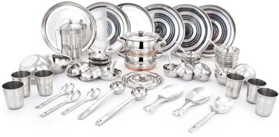 uddhav gold Steel UDDHAV GOLD Collection Stainless Steel Heavy Diamond Touch 51 Pcs Dinner Set (Weight 9Kg) Dinner Set