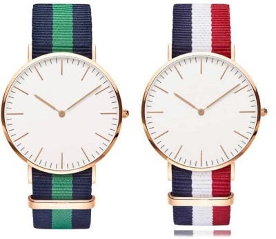 NEW CREATION WD Combo Green with France Analogue White Slim Dial Luxurious Fabric Strape Fashion Unisex Wrist Watch Analog Watch  - For Men & Women