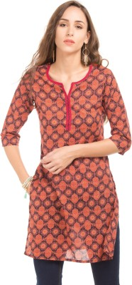 Karigari Women Printed Straight Kurta Red