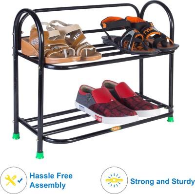 Patelraj Metal Shoe Stand(Black, 2 Shelves)