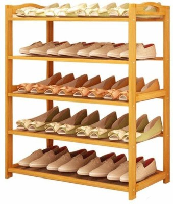 Yutiriti 5 Tier Bamboo Wooden Shoe Storage Rack Household Organizer - 27x9.5x20 inch Solid Wood Shoe Stand(5 Shelves)