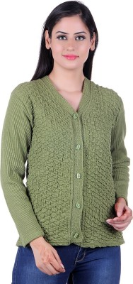 eWools Solid V-neck Casual Women Green Sweater