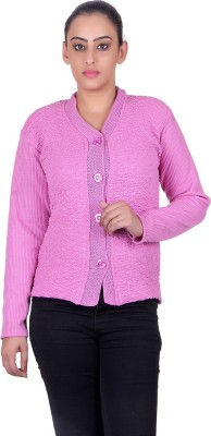 eWools Solid V-neck Casual Women Pink Sweater