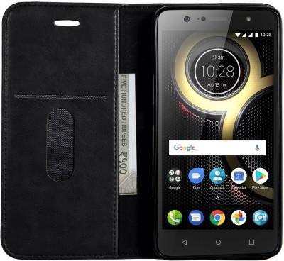 Bepak Wallet Case Cover for Lenovo K8 Plus(Black, Shock Proof)