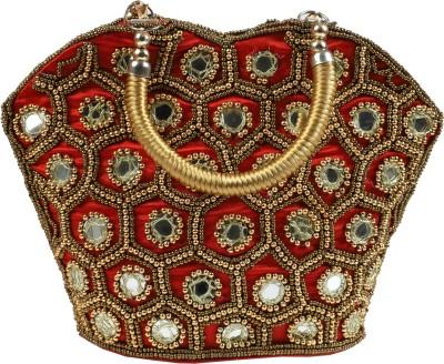 Fancy Walas Women Red, Gold Hand-held Bag