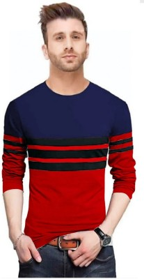FastColors Solid Men Round Neck Red, Dark Blue T-Shirt