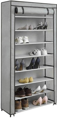Ebee Metal Collapsible Shoe Stand(Grey, 8 Shelves)
